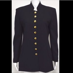 Vtg Christian Dior Military Jacket 8 Black Wool